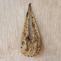 Batik cotton shoulder bag, 'Lokchan Plains' - Floral Batik Cotton Shoulder Bag in Wheat from Bali