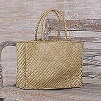 Pandan leaf tote, 'Village Weave' - Handwoven Natural Pandan Leaf Tote from Bali