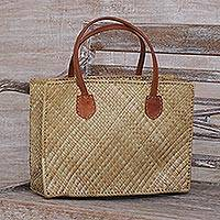 Leather accent pandan leaf tote, 'Village Weave' - Leather Accent Handwoven Pandan Leaf Tote from Bali