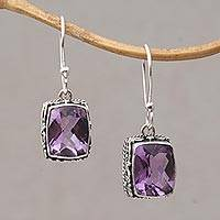 Amethyst dangle earrings, 'Temple Gleam' - Amethyst and Sterling Silver Dangle Earrings from Bali