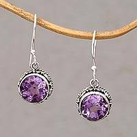 Amethyst dangle earrings, 'Iridescent Circles' - Circular Amethyst and Silver Dangle Earrings from Bali