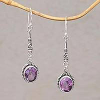 Amethyst dangle earrings, 'Temple Translucence' - Oval Amethyst and Silver Dangle Earrings from Bali