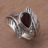 Garnet cocktail ring, 'Leafy Caress' - Garnet and Silver Leaf Design Cocktail Ring from Bali