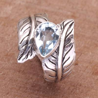 Blue Topaz and Sterling Silver Leaf Cocktail Ring from Bali