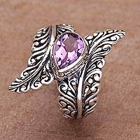 Amethyst cocktail ring, 'Ferny Caress' - Amethyst and Sterling Silver Fern Cocktail Ring from Bali