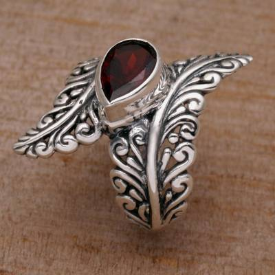 Garnet and Sterling Silver Fern Cocktail Ring from Bali