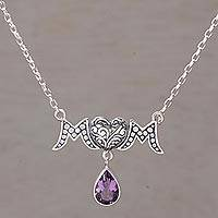 Amethyst pendant necklace, 'Mom' - Amethyst and 925 Silver Mom Pendant Necklace from Bali
