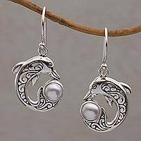 Featured review for Cultured pearl dangle earrings, Dolphin Gift