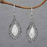 Sterling silver dangle earrings, 'Leafy Mirrors' - Sterling Silver Shimmering Dangle Earrings from Bali