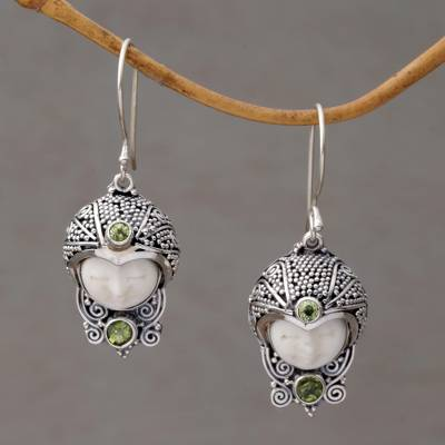 Peridot dangle earrings, 'Celuk Prince' - Peridot and Cow Bone Sterling Silver Celuk Dangle Earrings