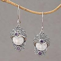 Amethyst dangle earrings, 'Celuk Prince' - Amethyst and Cow Bone Sterling Silver Celuk Dangle Earrings