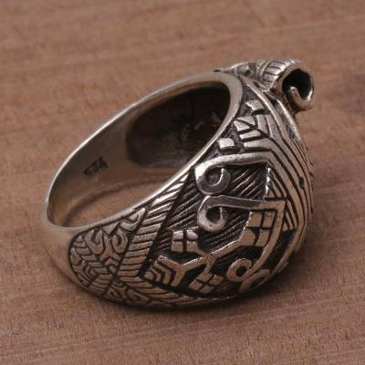 Sterling Silver Songket Cloth Cocktail Ring from Bali