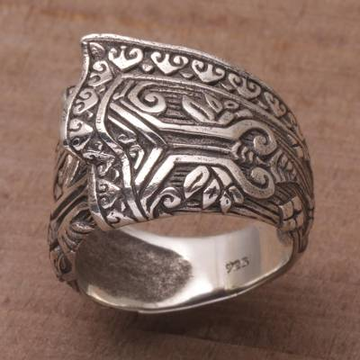 birthstone ring dish - Sterling Silver Cultural Cloth Cocktail Ring from Bali