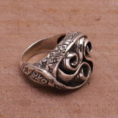 Sterling Silver Spiraling Cocktail Ring from Bali