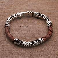 Men's sterling silver and leather bracelet, 'Royal Weave in Brown' - Men's Sterling Silver and Leather Bracelet in Brown