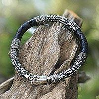 Men's sterling silver and leather bracelet, 'Royal Weave in Dark Brown' - Men's Sterling Silver and Leather Bracelet in Dark Brown