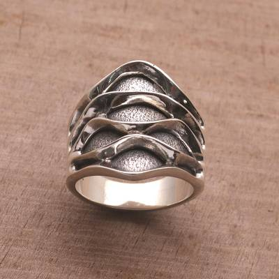 Sterling Silver Wave Motif Cocktail Ring from Bali