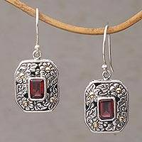 Gold accent garnet dangle earrings, 'Daisy Queen' - Gold Accent Floral Garnet Dangle Earrings from Bali