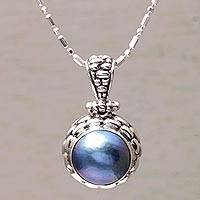 Cultured pearl pendant necklace, 'Eclipse Pebbles' - Blue Cultured Pearl and Silver Pendant Necklace from Bali