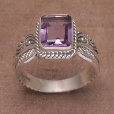 link silver bracelet - Amethyst Leaf-Themed Single Stone Ring from Bali
