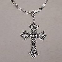 Sterling silver pendant necklace, 'Cross of Vines' - Sterling Silver Cross Pendant Necklace from Bali