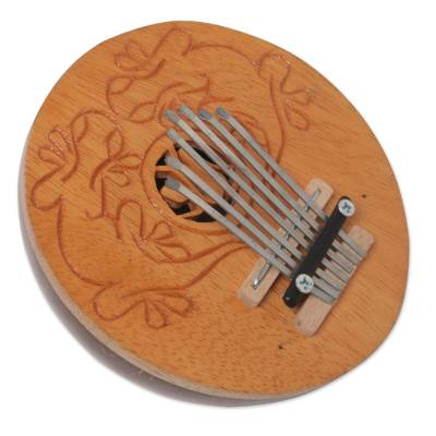 Coconut shell kalimba thumb piano, 'Gecko Melody' - Handcrafted Coconut Shell Kalimba Thumb Piano from Bali