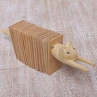 Wood clacker instrument, 'Kitten Rhythm' - Wood Cat-Shaped Percussion Instrument from Bali