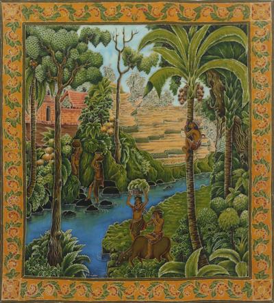 Signed Balinese Village Batik Painting on Cotton Canvas