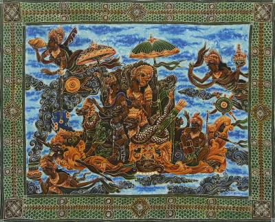 Signed Hindu Epic Batik Painting on Cotton Canvas from Bali