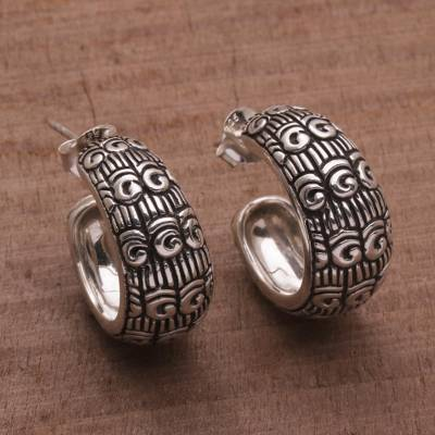 Sterling silver half-hoop earrings, 'Samsi Shrine' - Samsi Motif Sterling Silver Half-Hoop Earrings from Bali