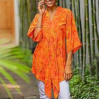 Rayon caftan, 'Daisy Cheer' - Handmade Orange Floral Batik Rayon Caftan from Indonesia