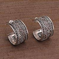 Sterling silver half-hoop earrings, 'Merajan Majesty' - Sterling Silver Openwork Half-Hoop Earrings from Bali