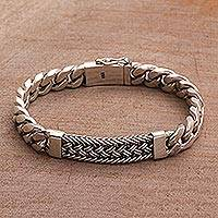Men's sterling silver wristband bracelet, 'Braided Belt' - Sterling Silver Braided Wristband Bracelet from Bali