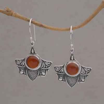 Carnelian dangle earrings, 'Falcon's Eye' - Carnelian and Sterling Silver Bird Dangle Earrings from Bali