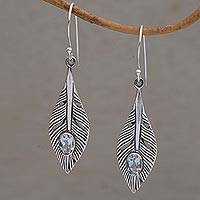 Blue topaz dangle earrings, 'Glittering Feathers' - Blue Topaz Feather Dangle Earrings from Bali