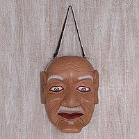 Wood mask, 'Pekak' - Detailed Hand Carved and Painted Mask of Old Man