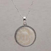 Sterling silver pendant necklace, 'Stellar Lovers' - Sterling Silver and Bone Sun and Moon Necklace from Bali