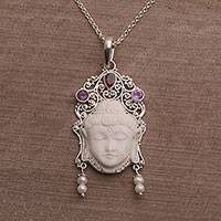 Multi-gemstone pendant necklace, 'Buddha's Earrings' - Multi-Gemstone Sterling Silver Buddha Necklace from Bali