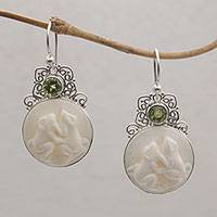Peridot dangle earrings, 'Night Croakers' - Peridot and Sterling Silver Frog Dangle Earrings from Bali