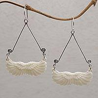 Bone dangle earrings, 'Fly Home' - Bone and Sterling Silver Wing Dangle Earrings from Bali