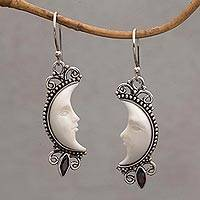 Garnet dangle earrings, 'Natural Moonlight' - Garnet and Silver Crescent Moon Dangle Earrings from Bali