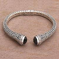 Onyx cuff bracelet, 'Onyx Shrine' - Onyx and Sterling Silver Cuff Bracelet from Indonesia