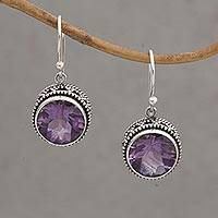 Amethyst dangle earrings, 'Sparkling Haven' - Handcrafted Amethyst and Sterling Silver Dangle Earrings