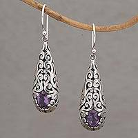 Amethyst dangle earrings, 'Dangling Vines' - Handcrafted Amethyst and Sterling Silver Dangle Earrings