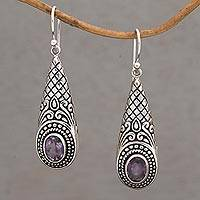 Amethyst dangle earrings, 'Sparkling Delight' - Handcrafted Amethyst and Sterling Silver Dangle Earrings