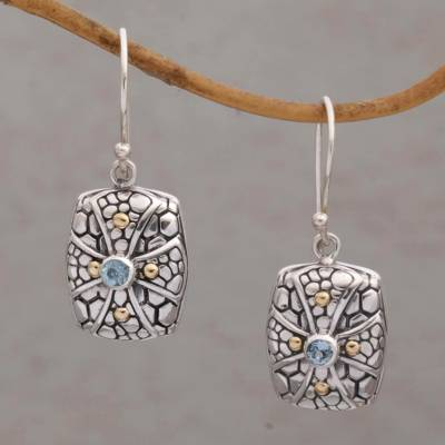 Gold accented blue topaz dangle earrings, 'Faith Pebbles' - Gold Accent Blue Topaz Cross Dangle Earrings from Bali