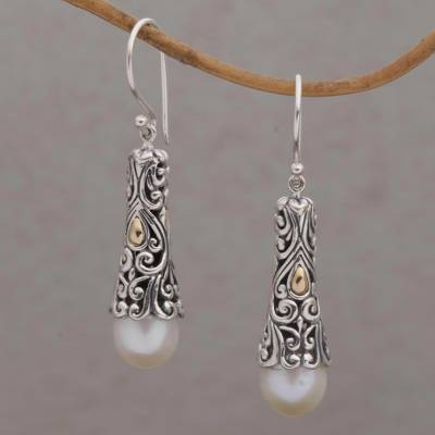 Gold accented cultured pearl dangle earrings, Dazzling Swirls