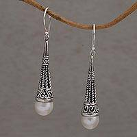 Cultured pearl dangle earrings, 'Simply Luminous' - Cultured Pearl and Sterling Silver Dangle Earrings from Bali