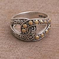 Sterling silver and gold accent band ring, 'Forever Mine' - Sterling Silver and Gold Accent Ring from Indonesia