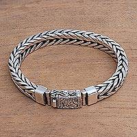 Men's sterling silver bracelet, 'Magic Conjurer' - Men's Sterling Silver Chain Bracelet from Bali